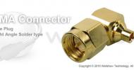 SMA connector male right angle solder for RG402 semi rigid, semi flex cable