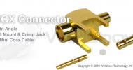 MCX connector jack right angle for PCB mount and 1.37 coaxial cable
