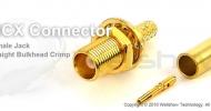 MCX connector jack straight bulkhead crimp for LMR100, RG188 coax cable