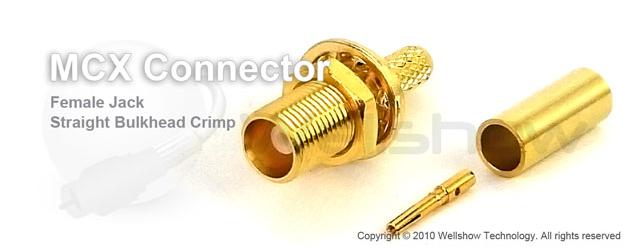 MCX connector jack straight bulkhead crimp for RG174, RG316 coax cable