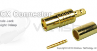 MCX connector jack straight crimp for RG188, LMR100 coaxial cable