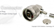 N connector plug right angle crimp for RG58, LMR195 coaxial cable