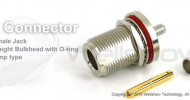 N connector jack bulkhead w/O-ring crimp for RG58, LMR195 coax cable